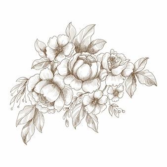 Main décorative dessiner la conception de cartes de croquis floral