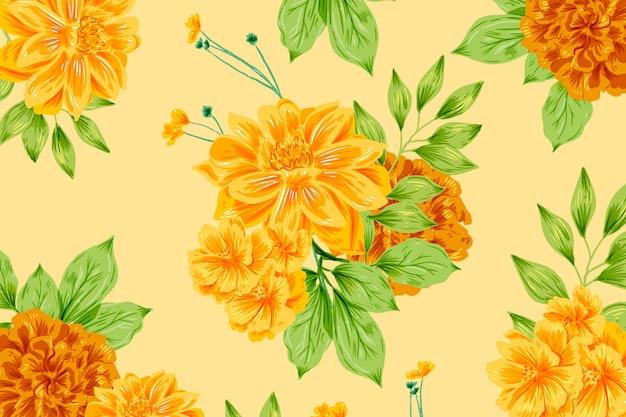 Main décorative peint fond floral