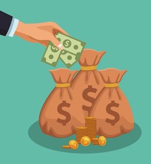Main déposant de l'argent dans un sac