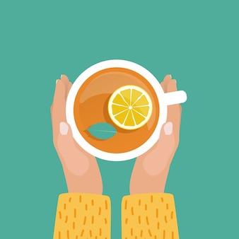Main avec design plat de tasse de thé