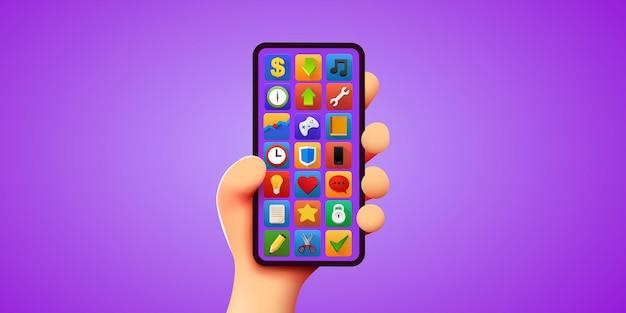 Main de dessin animé mignon d tenant une maquette moderne de téléphone intelligent mobile