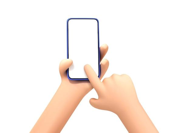 Main de dessin animé de vecteur tenant et touchant le modèle de maquette de téléphone. mains de dessin animé avec smartphone, défilement ou recherche de quelque chose, isolées sur fond blanc.