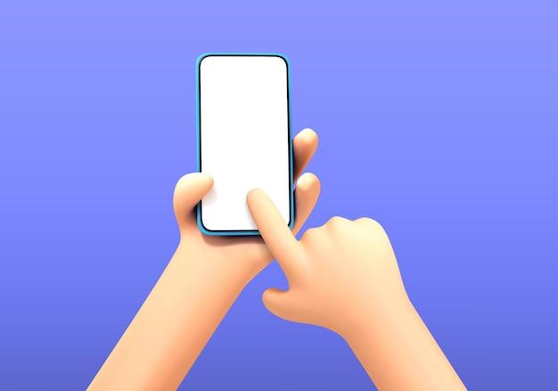Main de dessin animé de vecteur tenant et touchant le modèle de maquette de téléphone. mains de dessin animé avec smartphone, défilement ou recherche de quelque chose. main de dessin animé tenant le smartphone isolé sur fond bleu.
