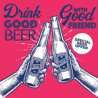 Main, dessin de bière de style vintage cheer