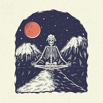 Main, dessin crâne squelette illustration, le concept du yoga squelette avec fond de montagne la nuit.