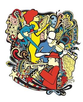 Main, dessin, doodles, musiciens, ornemental