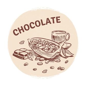 Main, dessin, emblème chocolat