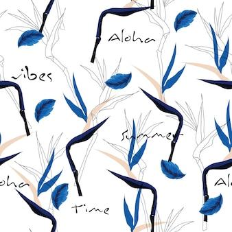 Main, dessin flora mélange avec motif tropical sans soudure