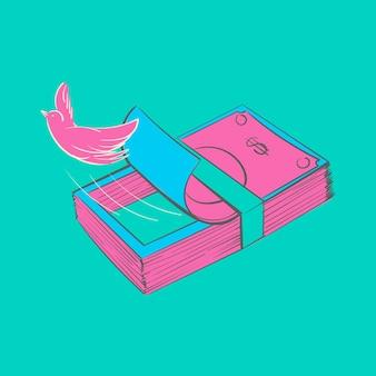 Main dessin illustration du concept de finance