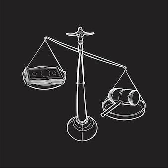 Main dessin illustration du concept de justice