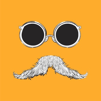 Main, dessin d'illustration du concept de style hipster