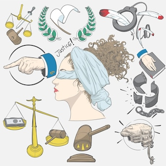 Main, dessin, illustration, ensemble, justice
