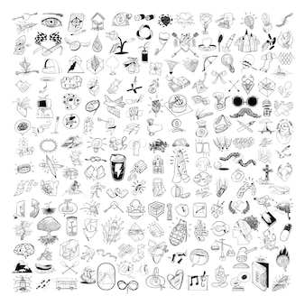 Main, dessin, illustration, ensemble mélangé, de, style de vie