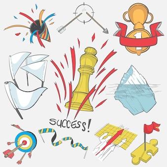 Main, dessin, illustration, ensemble, réussi