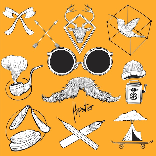 Main, dessin illustration ensemble de style hipster