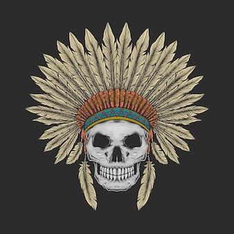 Main, dessin illustration vectorielle de crâne natif vintage