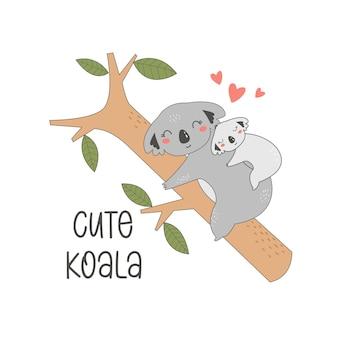Main, dessin illustration vectorielle de koalas mignons pour la conception de tshirt