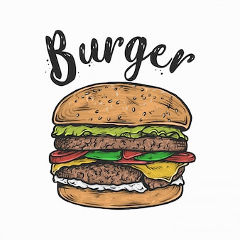 Main, dessin d'illustration vectorielle logo burger vintage