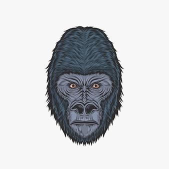 Main, dessin d'illustration vectorielle tête de gorille vintage