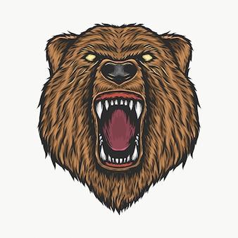 Main, dessin d'illustration vectorielle tête d'ours en colère vintage