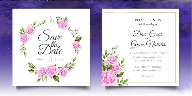 Main dessin modèle d'invitation de mariage floral avec de belles fleurs