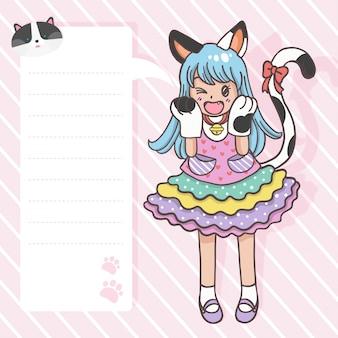 Main dessin personnage de dessin animé mignon fille