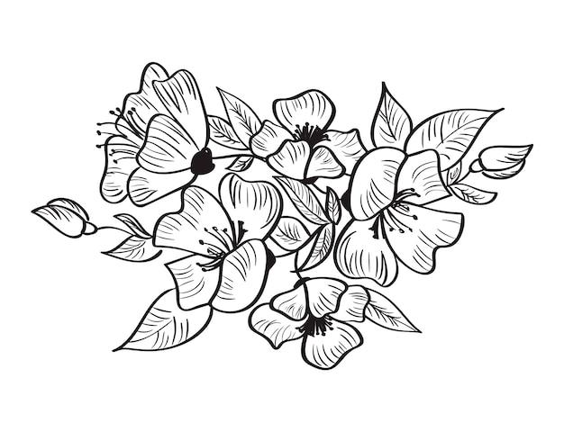 Main, dessin vectoriel et croquis de fleur rosa canina.