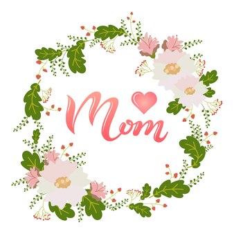Main dessiné affiche d'amour lettrage maman avec coeur rose et texte