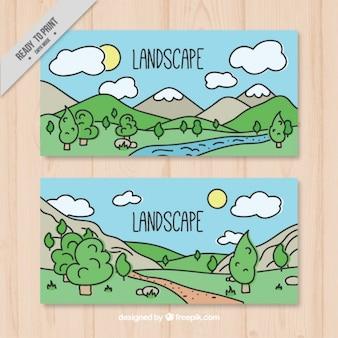 Main dessiné bannières paysage