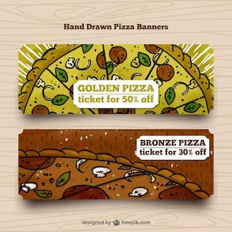 Main dessiné bannières pizza