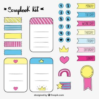 Main dessiné beaux accessoires pour scrapbook