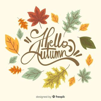 Main dessiné bonjour automne lettrage fond