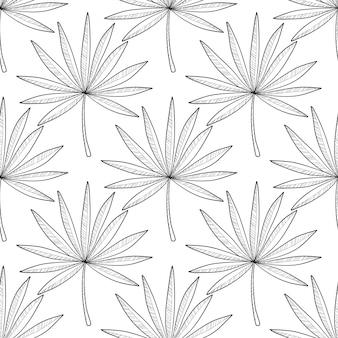 Main dessiné des branches et des feuilles de plantes tropicales