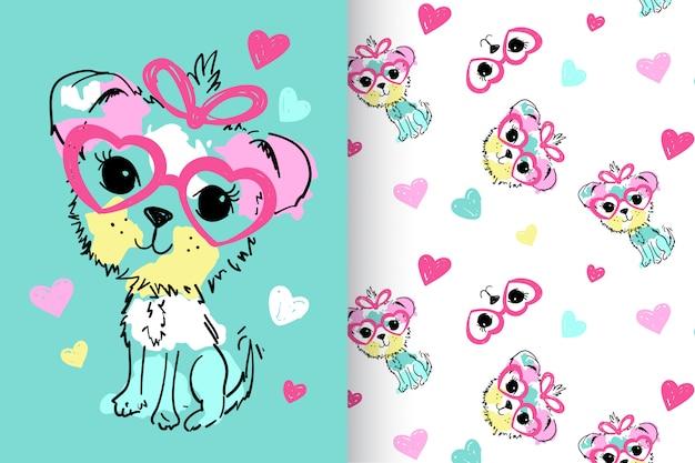 Main dessiné chien mignon avec set vector pattern