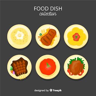 Main dessiné délicieux pack de plat de nourriture