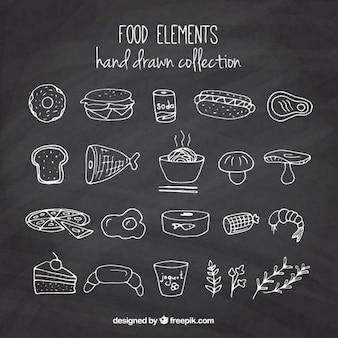 Main dessiné délicieux produits alimentaires