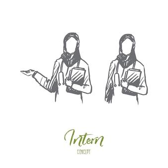 Main a dessiné deux infirmières musulmanes dans l'esquisse de concept clinique