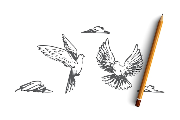 Main dessiné deux oiseaux volant dans l'esquisse de concept de ciel