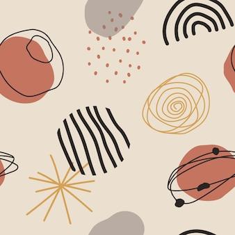 Main a dessiné diverses formes et objets de griffonnage. conception de modèle sans couture contemporaine.