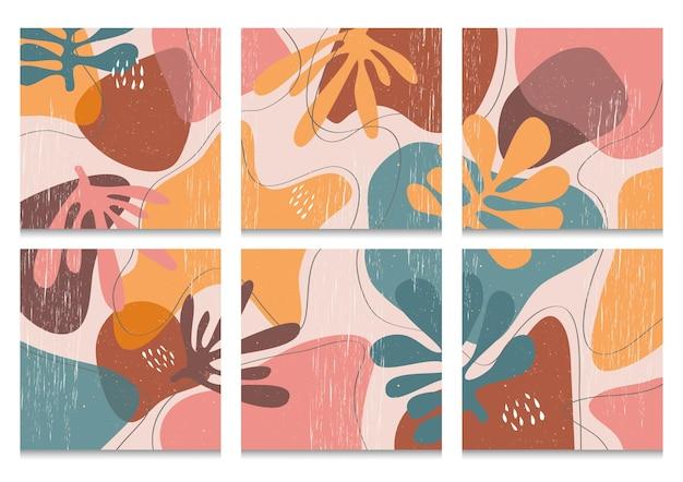 Main a dessiné diverses formes et objets organiques pour le fond. ensemble de doodle abstrait contemporain moderne à la mode.
