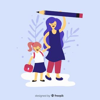 Main dessiné des écoliers avec leurs parents
