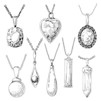 Main a dessiné un ensemble de bijoux différents. illustration d'un style d'esquisse.