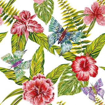 Main dessiné des feuilles tropicales fleurs et papillon