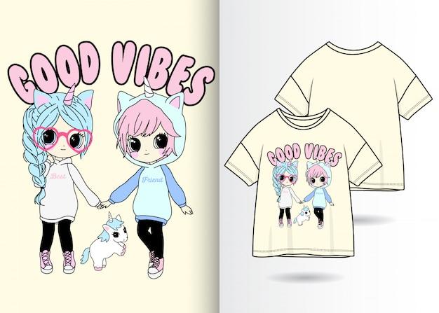 Main dessiné filles mignonnes avec t-shirt