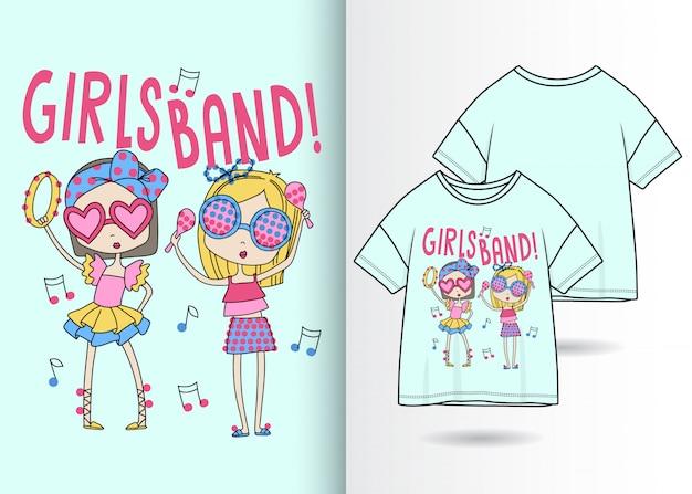Main dessiné filles mignonnes avec tshirt