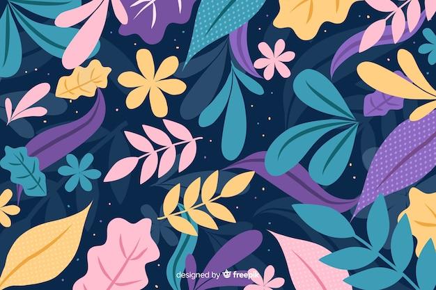 Main dessiné fond coloré avec des feuilles et des fleurs