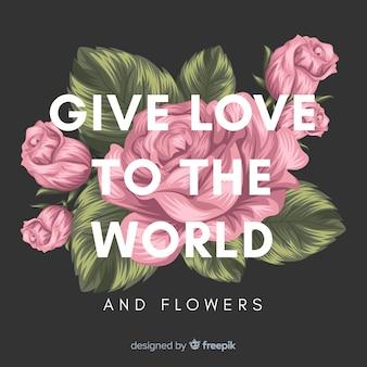 Main dessiné fond floral avec slogan