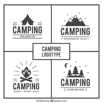 Main dessiné logos de camping pack