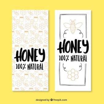 Main dessiné miel mignon bannières