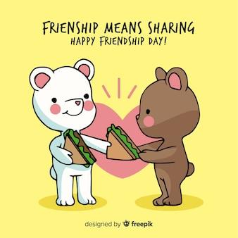 Main dessiné ours fond de journée de l'amitié